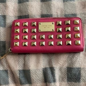 Michael Kors studded pink wallet